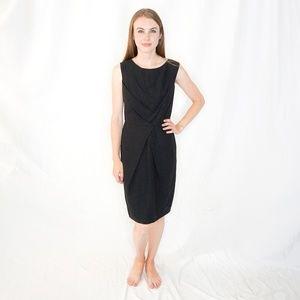 WILLOW Black Linen Layer Cross Front Dress 4
